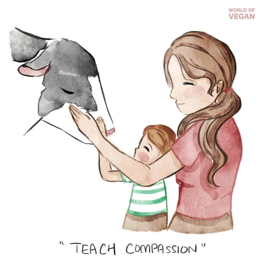 Teach Compassion Art Illustration | WorldofVegan.com #art #kids #parents