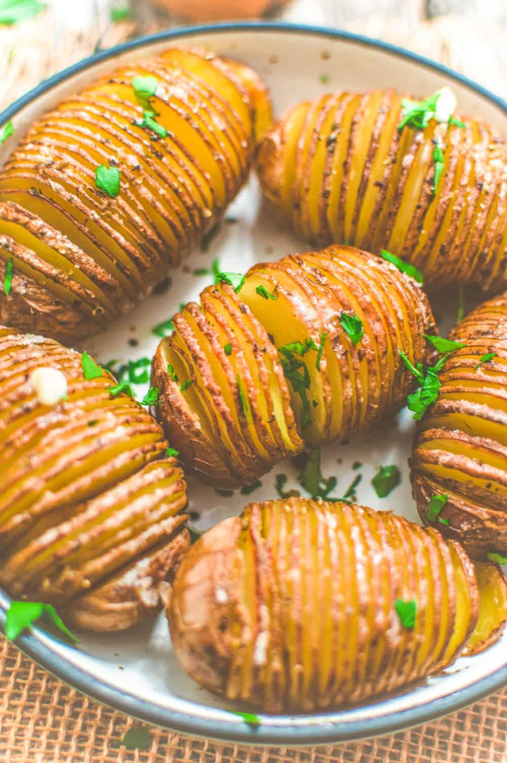 World of Vegan Hasselback Potatoes Close Up