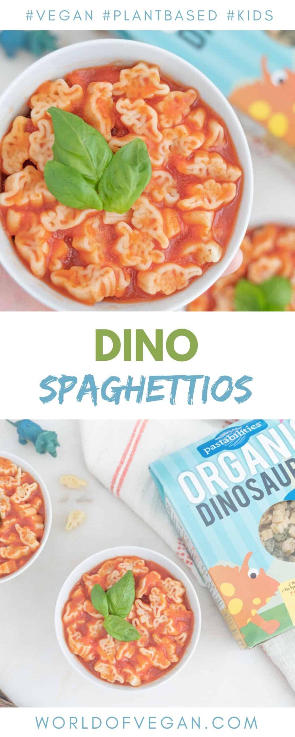 Dino Spaghettios—Homemade Vegan Spaghettios With Dinosaur Pasta