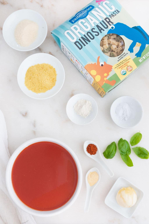 Vegan Spaghettios Ingredients Flatlay With Pastabilities Dinosaur Pasta