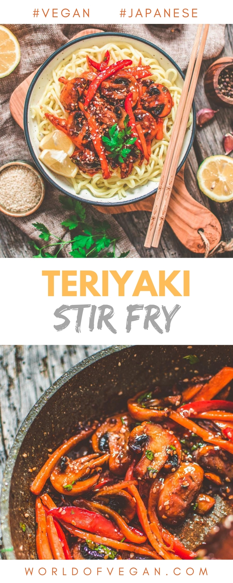 Vegan Teriyaki Stir Fry Long Pinterest Image