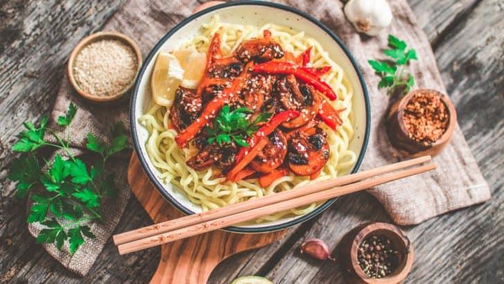 Vegan Teriyaki Stir Fry Over Noodles