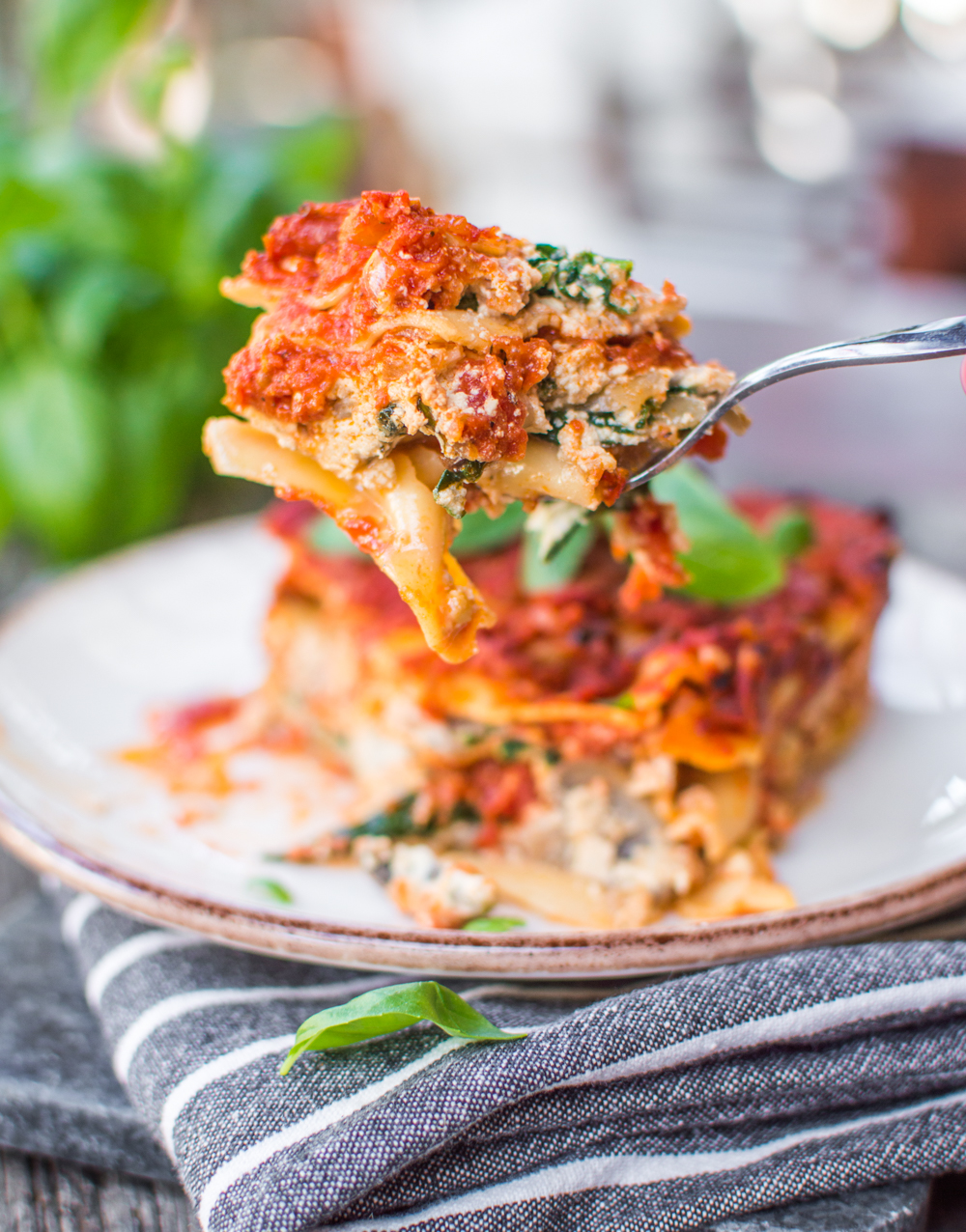 Plant-Based Lasagna with Marinara Sauce and Tofu Ricotta