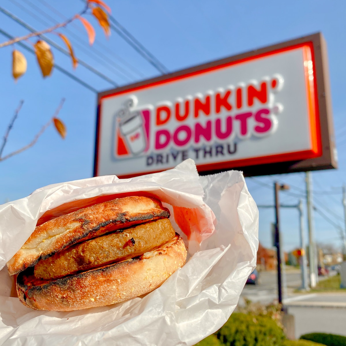 Vegan Beyond Sausage Sandwich at Dunkin Donuts