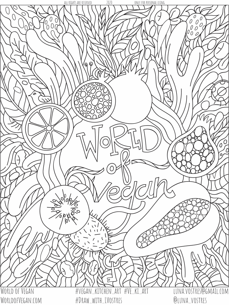 World of Vegan Coloring Page
