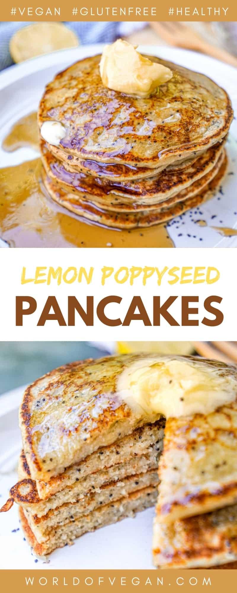 Vegan Lemon Poppyseed Pancakes Pinterest Graphic