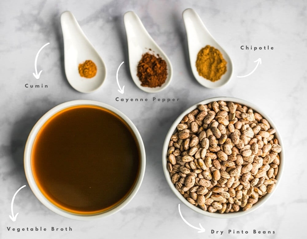Ingredients of Slow Cooker Refried Beans
