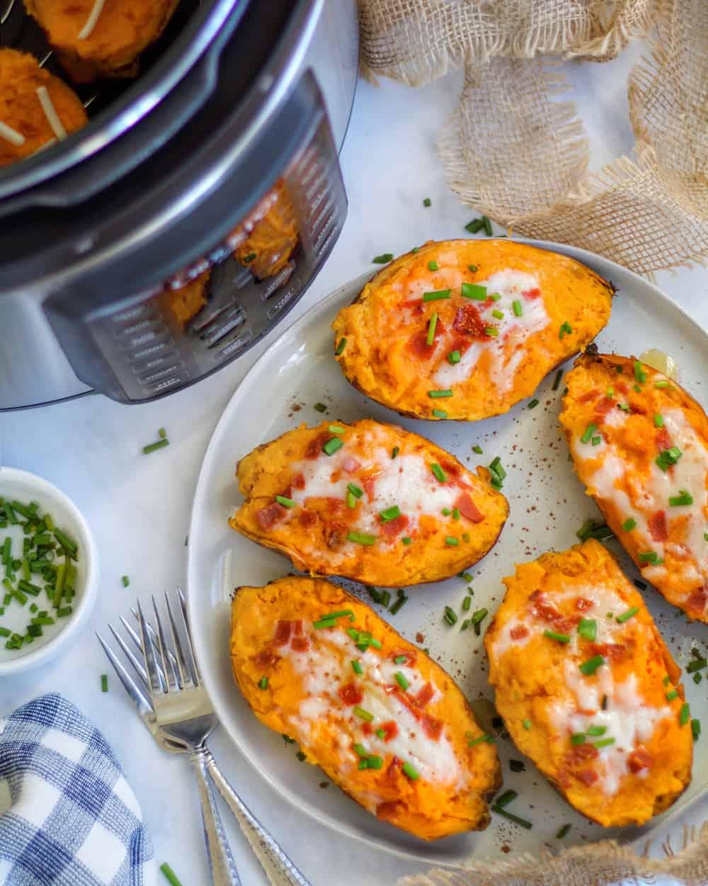 Vegan Sweet Potato Recipe - Pressure Cooker Twice Baked Sweet Potatoes